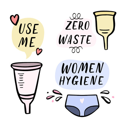 Funny women hygiene objects with speech bubbles. Hand lettering, handdrawn illustration with design elements.