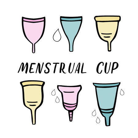 Set of menstrual cups. Period cup. Handdrawn vector illustration with lettering isolated on white  イラスト・ベクター素材