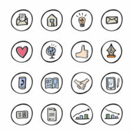 Hand drawn icons set. Social icons, communication icons, doodle style color vector icons.