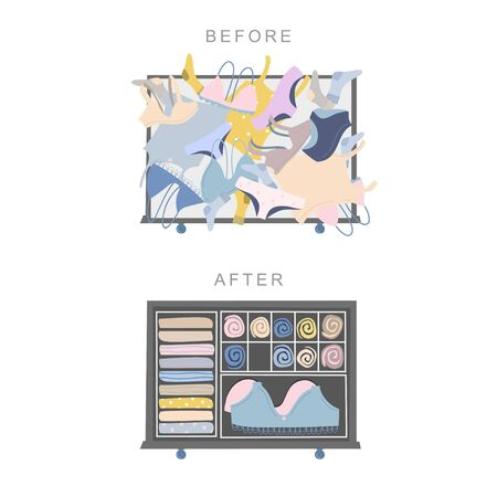 Wardrobe drawer organizer. Before and after tidying up concept