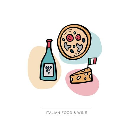 Italian traditional food and wine. Pizza, cheese and bottle of wine hand drawn illustration. Vector banner template