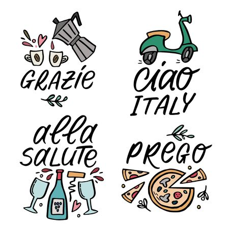 Set of vector cute illustration with traditioanal Italian symbols with handlettering words.