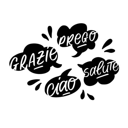 Vector handdrawn speech bubble black and white set with italian handwritten words.  イラスト・ベクター素材
