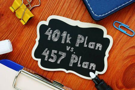 Conceptual hand writing showing 401k Plan vs. 457 Plan.