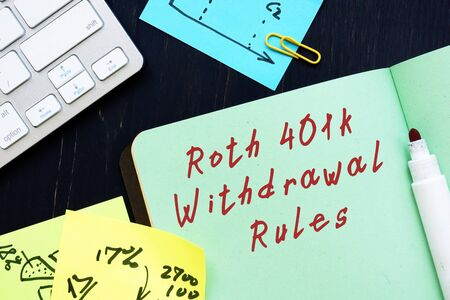 The photo says Roth 401k Withdrawal Rules. Notepad, pen, marker.
