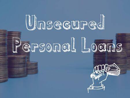 Unsecured Personal Loans  sign on the sheet. 免版税图像
