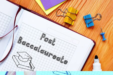 Business concept about Post Baccalaureate with sign on the piece of paper.