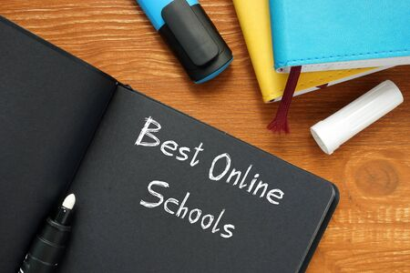 Educational concept about Best Online Schools with sign on the sheet. Stock fotó