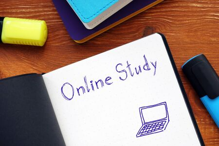 Educational concept about Online Study with sign on the piece of paper.