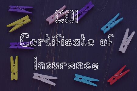 Financial concept meaning Certificate of Insurance COI with sign on the piece of paper.
