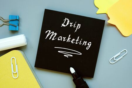 Business concept about Drip Marketing with sign on the sheet.