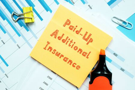 Business concept about Paid-Up Additional Insurance with inscription on the sheet.