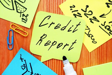 Business concept meaning Credit Report with sign on the sheet. Zdjęcie Seryjne