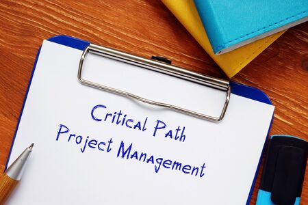 Business concept about Critical Path Project Management with phrase on the page. Zdjęcie Seryjne