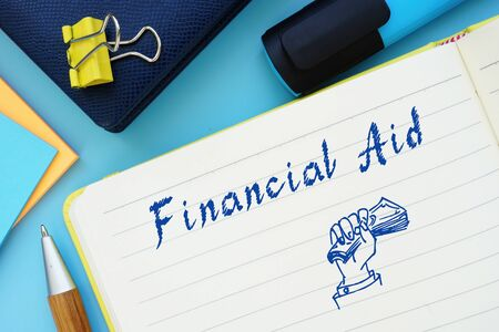 Financial Aid phrase on the piece of paper.
