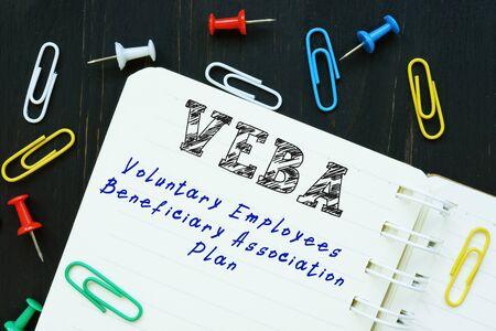 Conceptual photo about Voluntary Employees Beneficiary Association Plan VEBA with written phrase.
