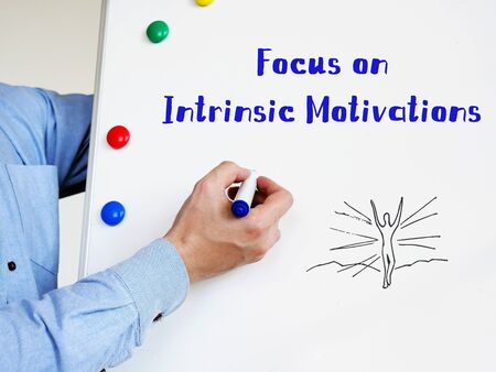 Motivation concept meaning Focus on Intrinsic Motivations with inscription on the piece of paper.