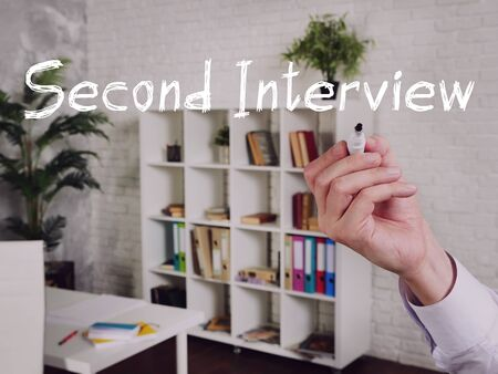 Career concept meaning Second Interview with sign on the sheet. Stockfoto