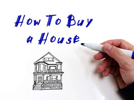 Financial concept meaning How To Buy A House with phrase on the sheet. 免版税图像