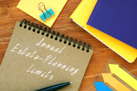 Financial concept meaning Annual Estate-Planning Limits with sign on the sheet.