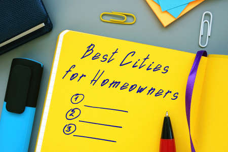 Business concept meaning Best Cities For Homeowners with phrase on the sheet.