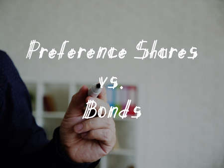 Business concept about Preference Shares vs. Bonds with inscription on the sheet. 스톡 콘텐츠