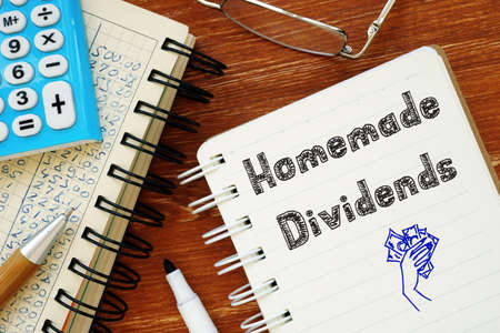 Financial concept about Homemade Dividends with phrase on the piece of paper.