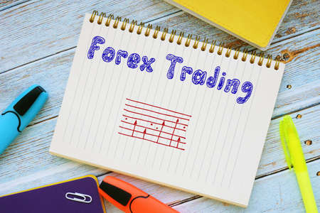 Financial concept meaning Forex trading with phrase on the piece of paper.