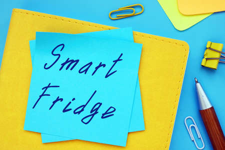 Business concept meaning Smart Fridge with inscription on the sheet. Stok Fotoğraf