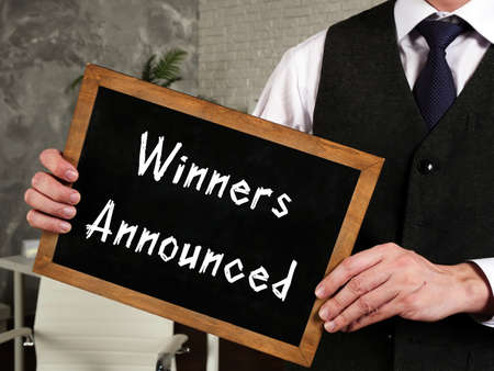 Financial concept meaning Winners Announced with inscription on the page.