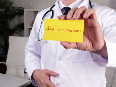 Medical concept meaning Adult Vaccinations with phrase on the page.