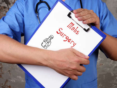 Health care concept meaning Mohs Surgery with phrase on the sheet. Stock fotó