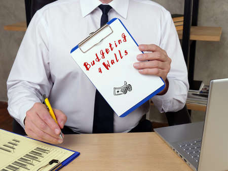 Financial concept meaning Budgeting 4 Walls r with sign on the piece of paper.