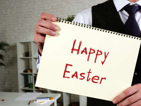 Conceptual photo about Happy Easter with written text.