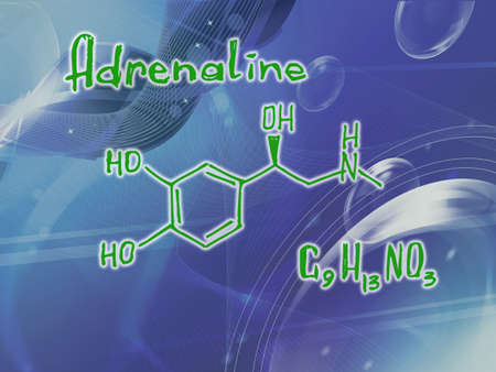 Chemical molecular formula of the hormone Adrenaline t . Infographics. Abstract bright glitter blue background.