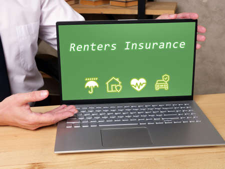 Financial concept meaning Renters Insurance with phrase on the page.