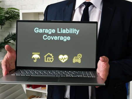 Conceptual photo about Garage Liability Coverage with written text.