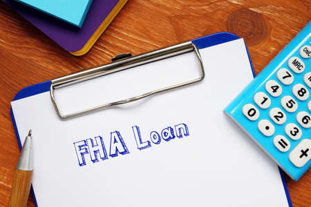 Financial concept meaning FHA Loan with inscription on the page.