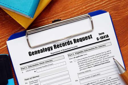 Application Form G-1041A Genealogy Records Request 版權商用圖片