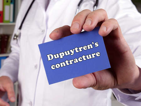 Conceptual photo about Dupuytren's contracture with handwritten text.