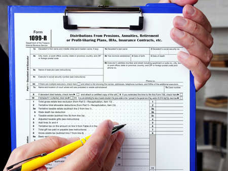 Business concept meaning Form 1099-R Distributions From Pensions, Annuities, Retirement or Profit-Sharing Plans, IRAs, Insurance Contracts, etc. with phrase on the page.