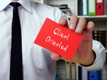 Business concept meaning Client Oriented with inscription on the page.