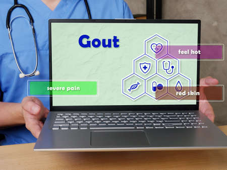 Health care concept meaning Gout severe pain feel hot red skin with inscription on the sheet.