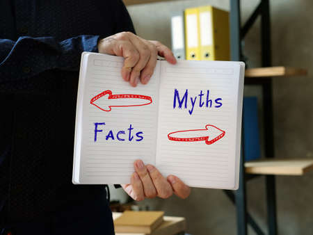 Direction Way to  Facts versus Myths  contrast concept Stock Photo