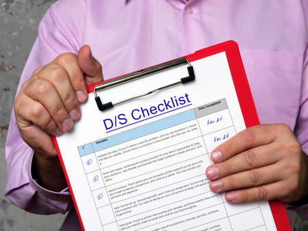 Business concept meaning D/S Checklist with sign on the sheet. Imagens