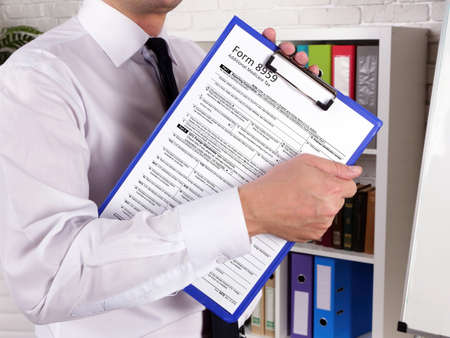 Business concept about Form 8959 Additional Medicare Tax with sign on the page.