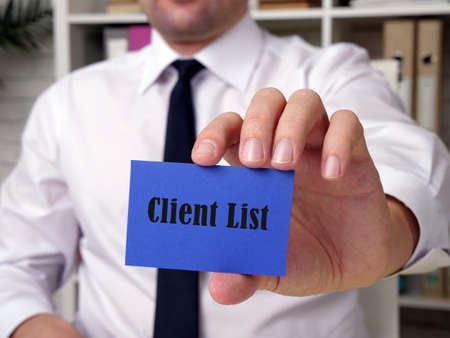 Business concept meaning Client List with inscription on the piece of paper. Zdjęcie Seryjne