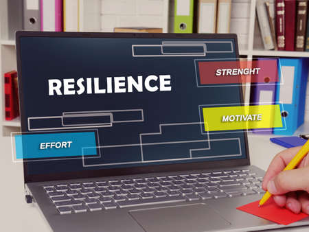 Financial concept about resilience strenght motivate effort with sign on the page.