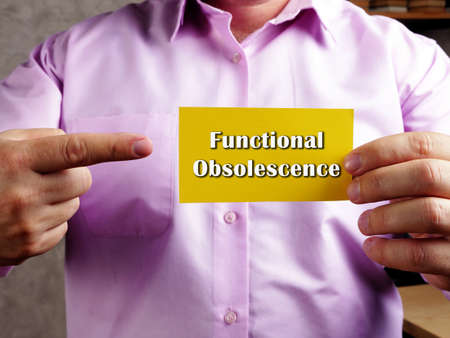 Functional Obsolescence phrase on the sheet. Stock fotó