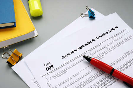 Financial concept meaning Form 1139 Corporation Application for Tentative Refund with inscription on the sheet.
